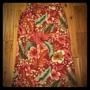 Pink Hawaiian floral print high waisted maxi skirt